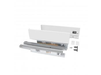 Emuca Kit cajón Vertex de cocina o baño, altura 93 mm, prof. 350 mm, 40 Kg, cierre suave, Acero, Blanco