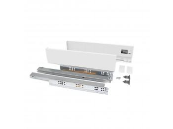 Emuca Kit cajón Vertex de cocina o baño, altura 83 mm, prof. 450 mm, 40 Kg, cierre suave, Acero, Blanco