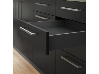 Emuca Kit cajón Vertex de cocina o baño, altura 93 mm, prof. 300 mm, 40 Kg, cierre suave, Acero, Gris antracita