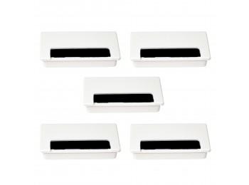 Emuca Pasacables Plasquare 2 para mesa, Plástico, Blanco, 5 ud