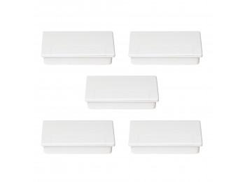 Emuca Pasacables Plasquare 1 para mesa, Plástico, Blanco, 5 ud
