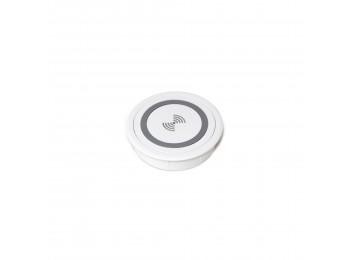 Emuca Cargador inalámbrico para móviles Airless, D. 91 mm, Plástico blanco