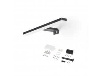 Emuca Foco LED para espejo de baño Leo, IP44, 280 mm, Plástico, Pintado negro