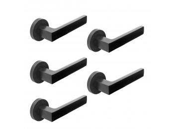 Emuca Manivelas  Mackay para puertas de interior, con roseta D.50 mm, aluminio, negro, 5 sets.
