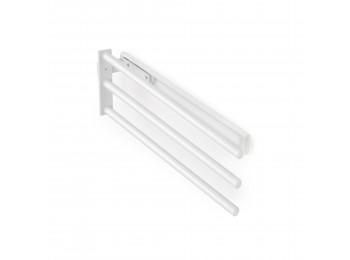 Emuca Toallero extensible, 3 brazos, 440 mm, Aluminio, Blanco