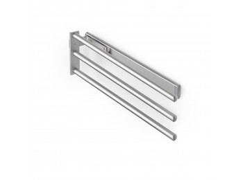Emuca Toallero extensible, 3 brazos, 440 mm, Aluminio, Anodizado mate