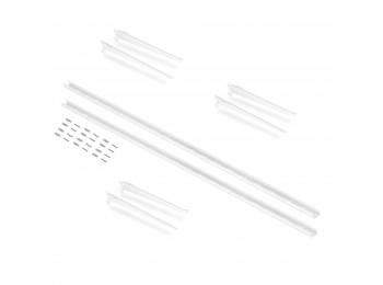 Emuca Perfiles de fijación a pared y soportes para estante Jagmet, 230, Pintado blanco, Acero