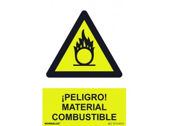 SeÑal 210x300mm pvc peligro material combustible rd30072