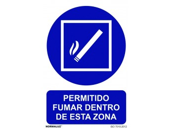 SeÑal 210x300mm pvc zona para fumar rd20011