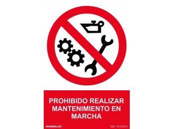 SeÑal 210x300mm pvc prohib. mantenimiento en marcha rd40022